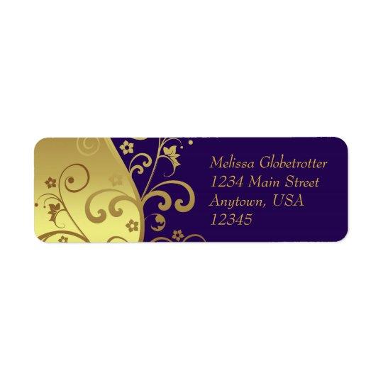 Address Labels--Dark Purple & Gold Swirls
