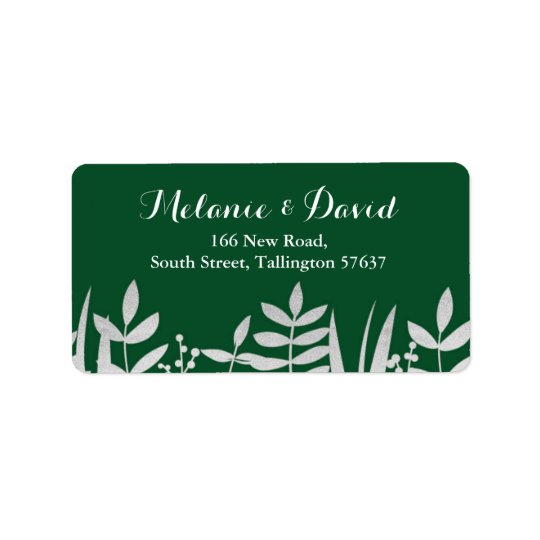 Address Labels Festive Green & Silver Christmas