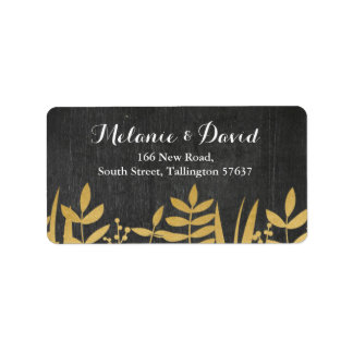 Address Labels Festive Xmas Black & Gold Christmas