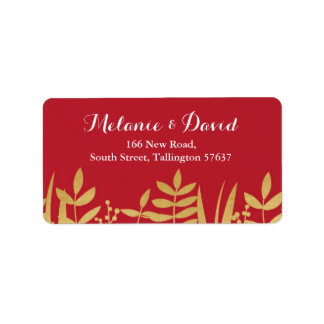 Address Labels Festive Xmas Red & Gold Christmas