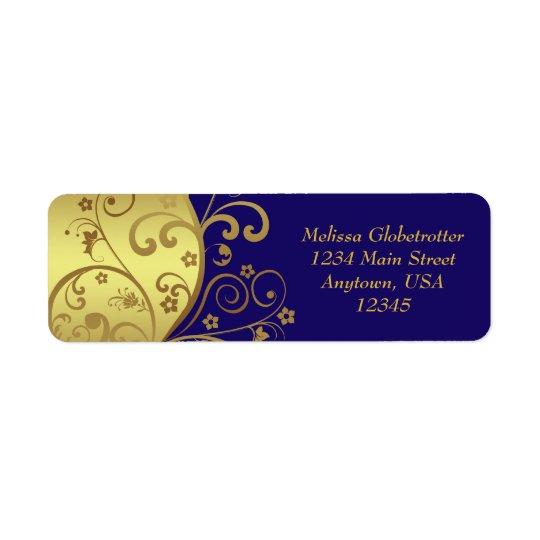 Address Labels--Gold Swirls & Dark Blue Return Address Label