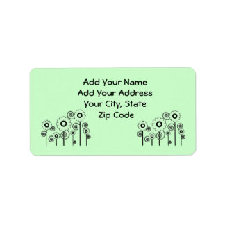 Address Labels, pale green Daisies on pale green Label