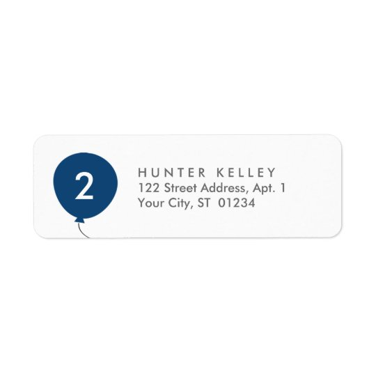 Address Labels, Personalised Navy Blue Balloon