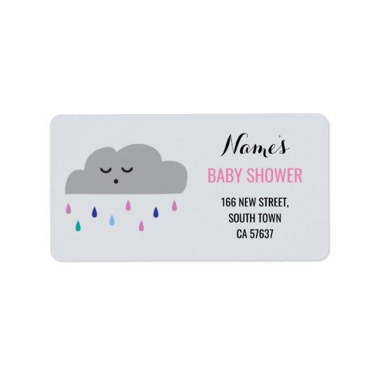 Address Labels Pink Girl Baby Shower Cloud Rain