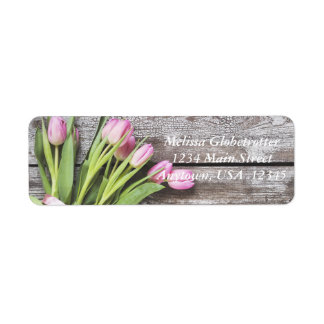 Address Labels--Pink Tulips & Wood Return Address Label