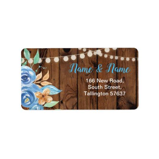 Address Labels Pretty Blue Flowers Floral Wood