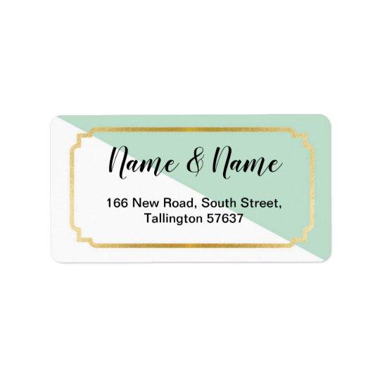 Address Labels Pretty Mint Gold Elegant White