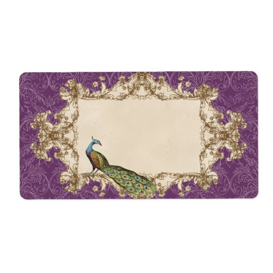 Address Labels - Purple Vintage Peacock & Etchings