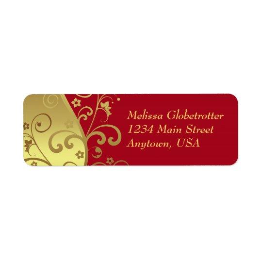 Address Labels--Red & Gold Swirls