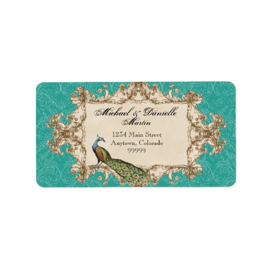 Address Labels - Teal Vintage Peacock & Etchings