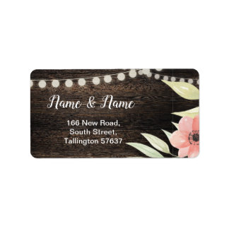 Address Labels Wood Flower Floral Peach Roses