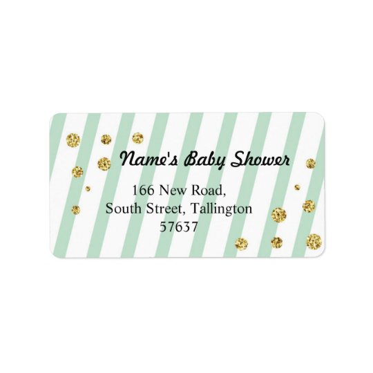 Address Mint Stripe Label Baby Shower Boy Girl