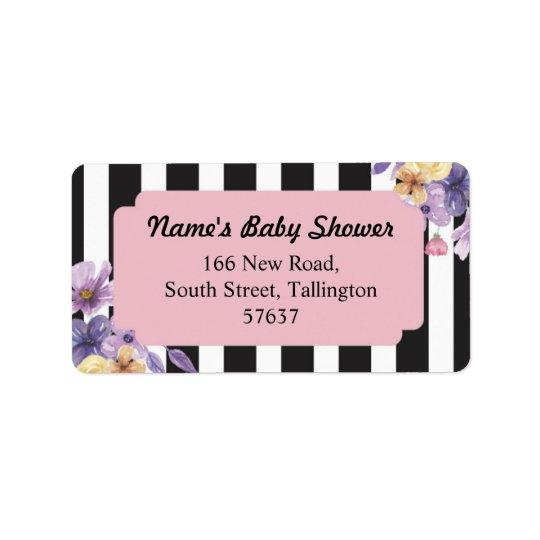 Address Pink Labels Stripe Baby Shower Flower