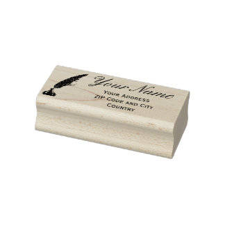 Address Rubber Stamp - Vintage Quill