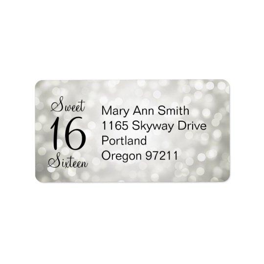 Address Sweet 16 Birthday Silver Glitter Lights Label