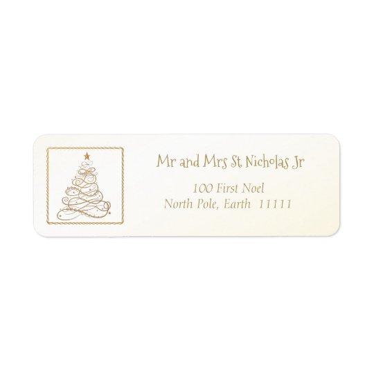 Address Template Golden Filigree Christmas Tree