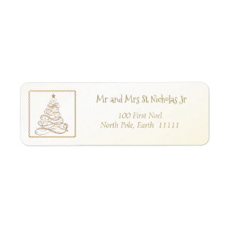 Address Template Golden Filigree Christmas Tree Return Address Label