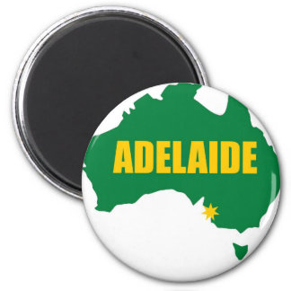 Adelaide Green and Gold Map 6 Cm Round Magnet