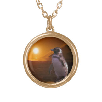 Adelie Penguin & Antarctic Sunset Gold Plated Necklace