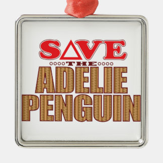 Adelie Penguin Save Silver-Colored Square Decoration