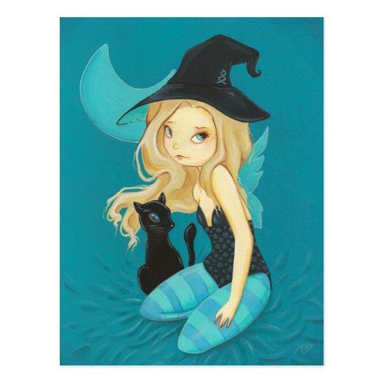 Adellia - Goth fairy witch black cat postcard