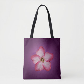 Adenium Pink Flower Flora Gradient Violet Tote Bag