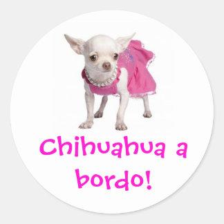 Adesivo - Chihuahua a bordo! Round Sticker