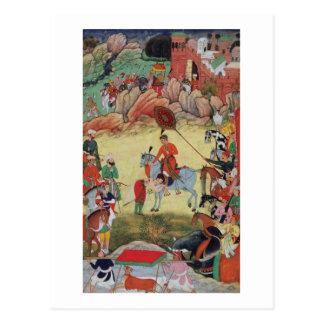 Adham Khan paying homage to Akbar at Sarangpur, Ce Postcard
