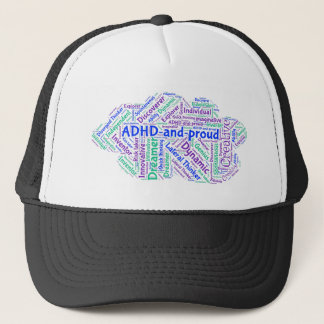 ADHD and Proud Motivational Inspirational Genius Trucker Hat