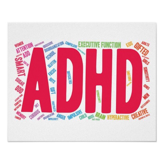 ADHD word cloud Poster