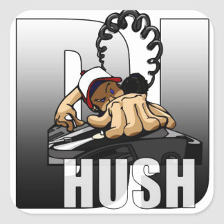 "Adhesive ""DJ Hush "" Square Sticker"