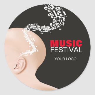 Adhesive for music festival classic round sticker