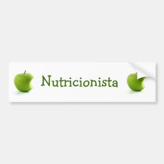 Adhesive Green Apple Nutritionist Bumper Sticker