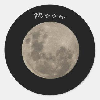 Adhesive Moon Round Sticker