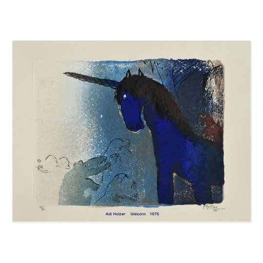 Adi Holzer Unicorn 1975 Postcard