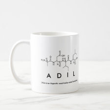 Mug featuring the name Adil spelled out in the single letter amino acid code