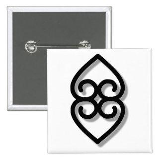 Adinkra - earth-BW 15 Cm Square Badge