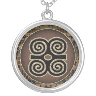 Adinkra symbols circles  talisman silver plated necklace