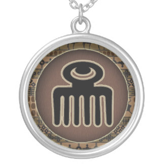 Adinkra symbols circles Tribal talisman Silver Plated Necklace