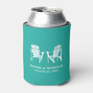 Adirondack Beach Chairs Teal | Wedding Can Cooler