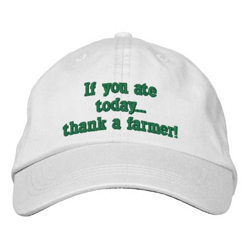 adjustable baseball cap, with farming quote. embroidered hat