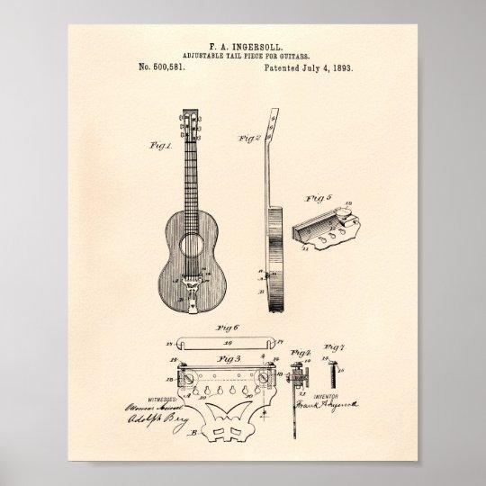 Adjustable Guitars 1893 Patent Art Old Peper Poster