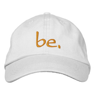 "Adjustable Hat White ""be."" Embroidered Hats"
