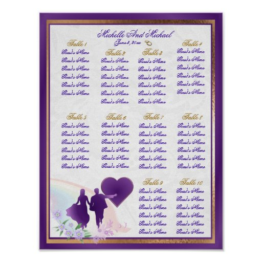 Adjustable Size Wedding Table Seating Chart Poster