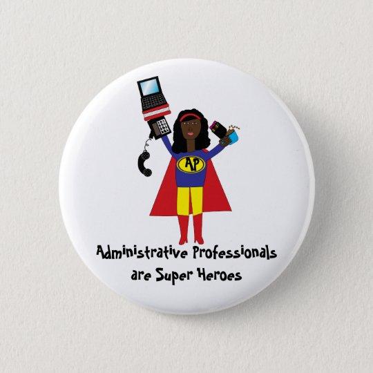 Administrative Professional Super Hero (African Am 6 Cm Round Badge