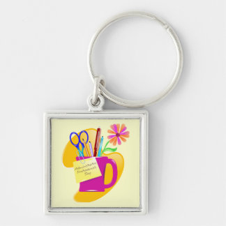 Administrative Professionals Day Design Silver-Colored Square Key Ring