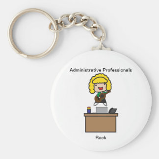Administrative Professionals Rock (Blonde) Basic Round Button Key Ring