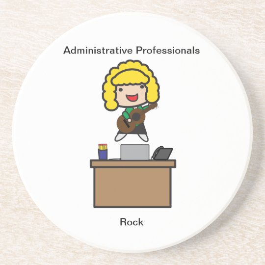 Administrative Professionals Rock (Blonde) Beverage Coasters
