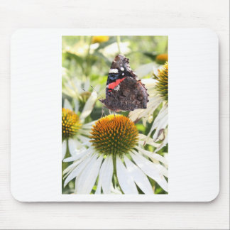 Admiral Butterfly on Flower Mouse Mats