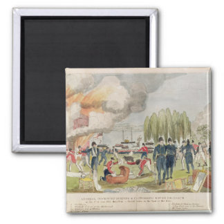 Admiral Cockburn burning and plundering Square Magnet